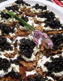 Beluga Lentil Crostini with Chevre-Chive Spread