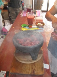 Meat Cooking in Molcajete
