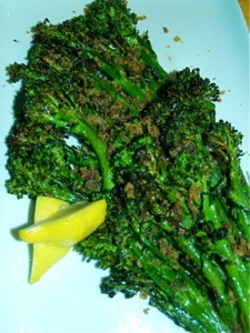 Oven Roasted Broccolini with Pine Nuts, Currants, and Bread Crumbs