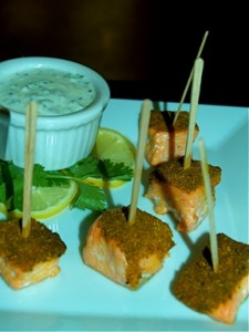 Curry Dusted Salmon Skewers with Yogurt Dipping Sauce