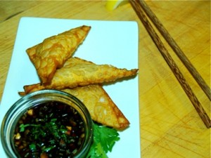 Peanut and Coconut Wontons with Sweet and Spicy Soy Dipping Sauce