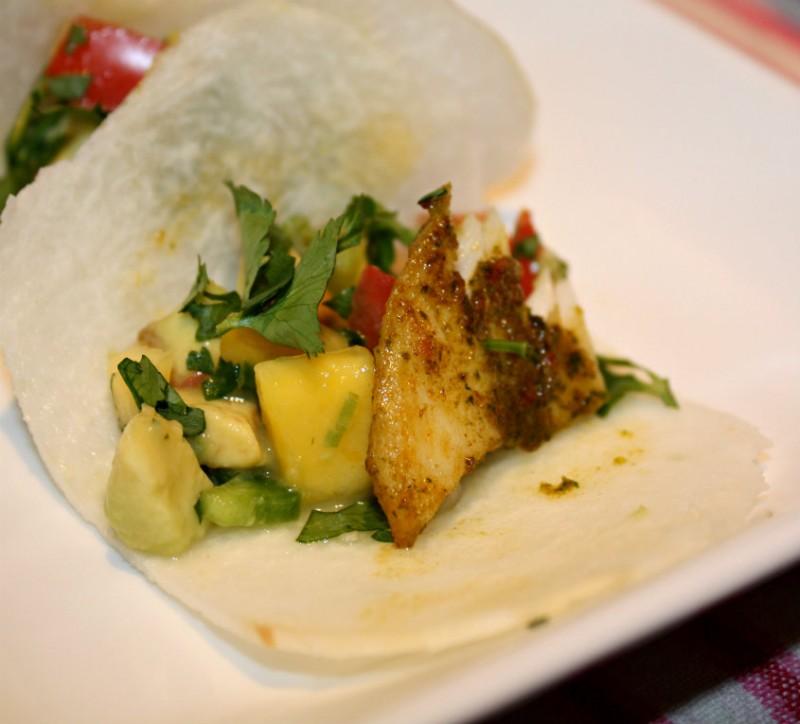 """Fish Taco in Jicama """"Tortilla"""""""